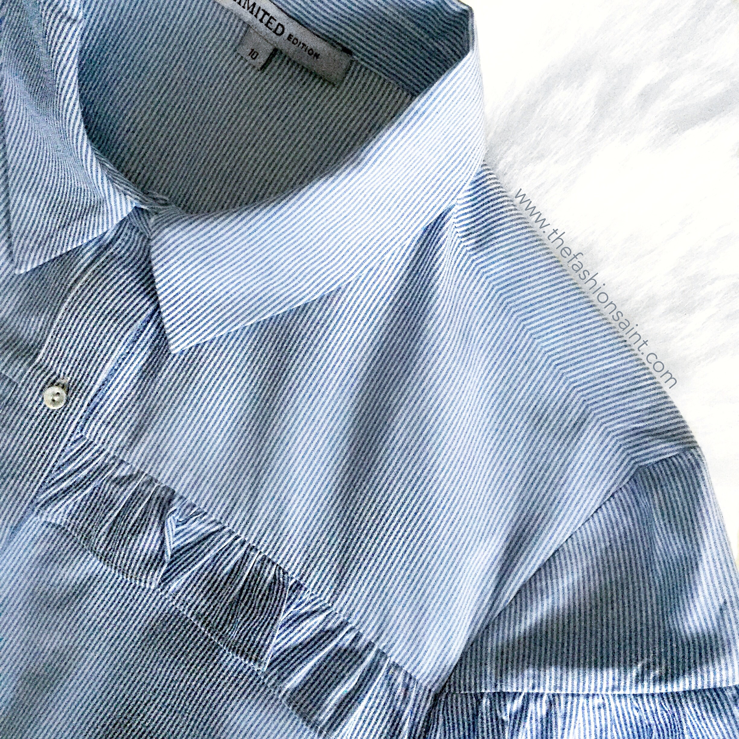 MS BLUE STRIPED FRILL DETAIL SHIRT