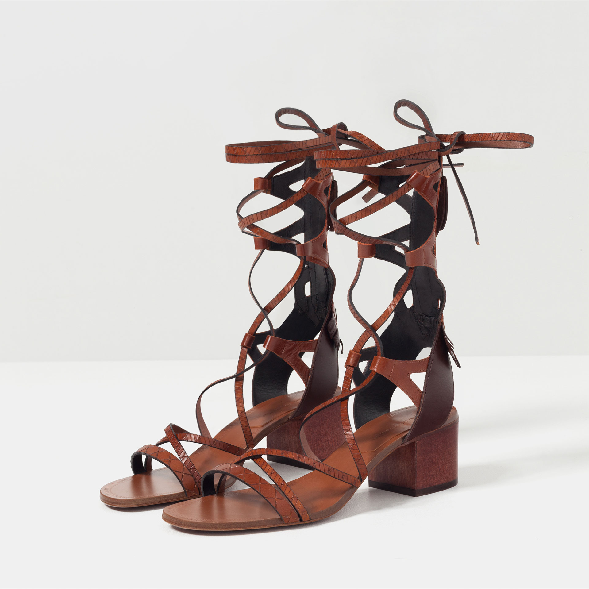 ZARA LACE UP LEATHER SANDALS VIEW 1