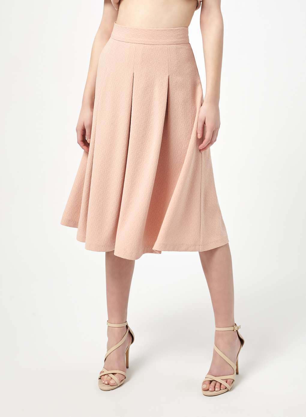 MISS SELFRIDGE NUDE CREPE BOX PLEAT MIDI SKIRT